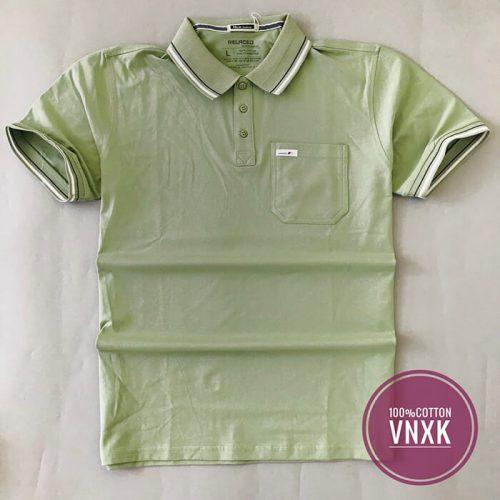 Chất liệu: thun cotton Kiểu: áo thun nam cổ bẻ Màu sắc: gồm 4 màu: xanh đen, trắng, xanh lá và vàng nâu Size: M, L, XL và XXL