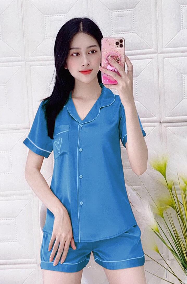 Đồ bộ nữ mặc nhà quần short lụa satin trơn màu xanh