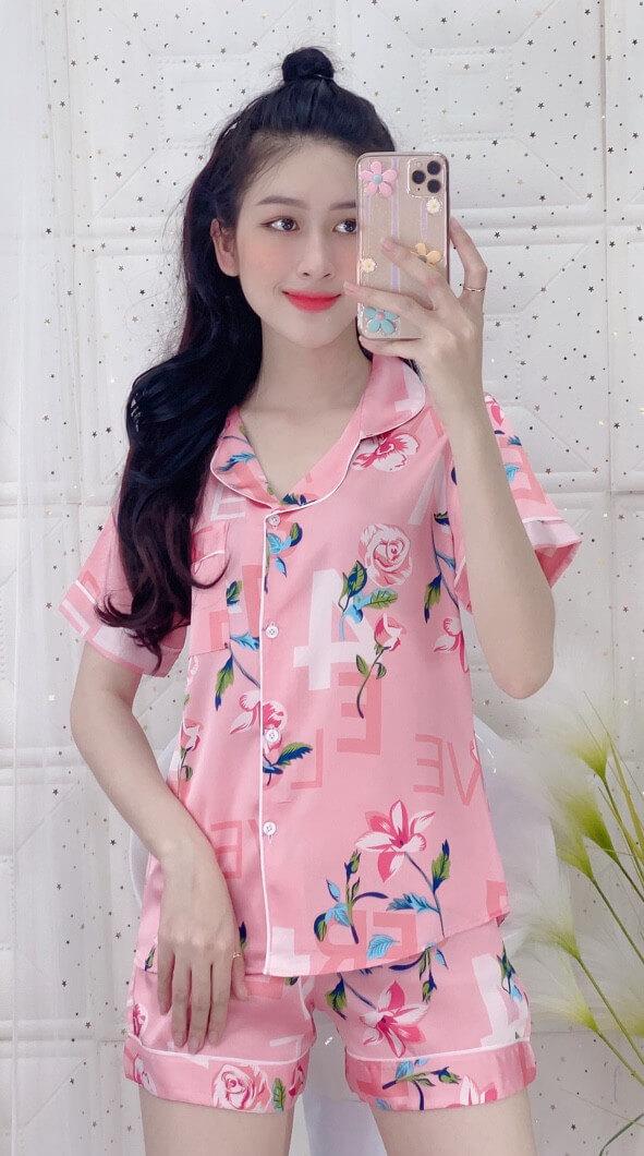 Đồ bộ nữ mặc nhà quần short lụa satin màu hồng