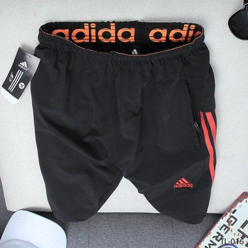 quần short nam ADIDAS đen 3 sọc cam