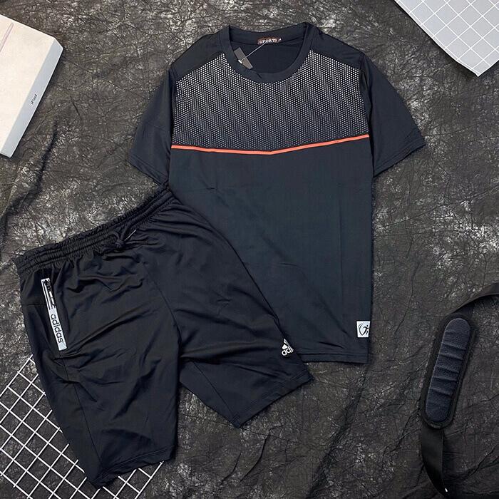 Set đồ bộ quần áo thun thể thao Sport đen quần Adidas nam đen