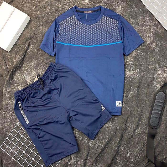 Set đồ bộ quần áo thun thể thao Sport xanh quần Adidas nam đen