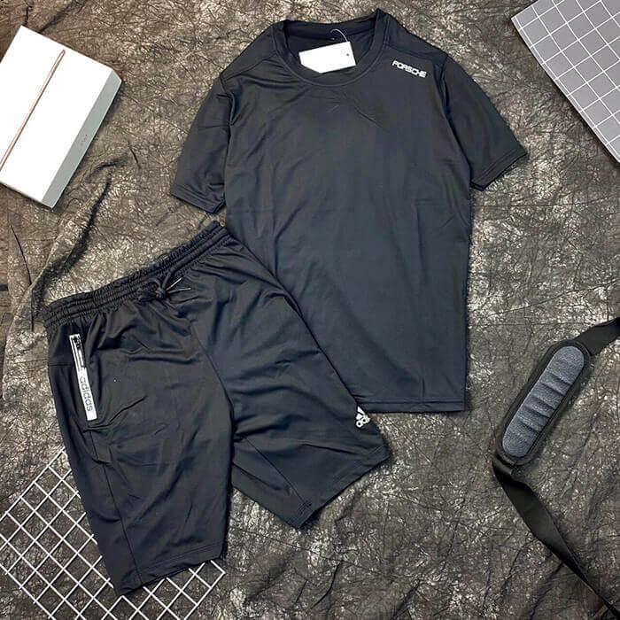 Set đồ bộ quần áo thun thể thao Porche quần Adidas nam màu đen