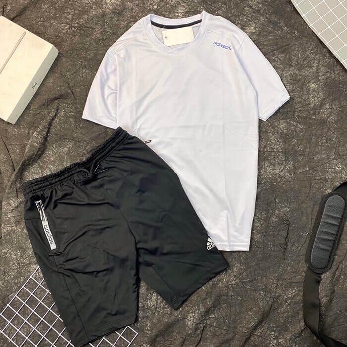 Set đồ bộ quần áo thun thể thao Porsche trắng quần Adidas nam đen