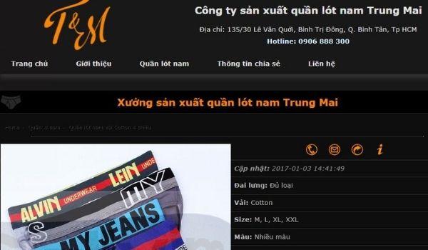 Công Ty Sản Xuất Quần Lót Nam Trung Hải
