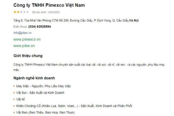 Công Ty TNHH Pimexco Việt Nam